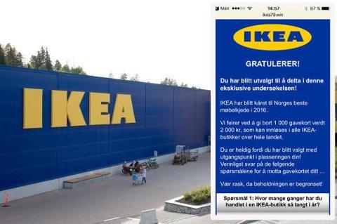SVINDELFORSØK: Har du fått denne undersøkelsen tilsendt? IKEA advarer på det sterkeste mot å besvare, for dette er nok et svindelforsøk.  Foto: Foto: Scanpix/skjermdump