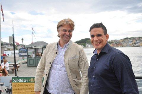 Sunnmøringene Ragnar Hatlø (til venstre) og Kurt Falch Stokke er på frierferd  for å selge konseptet «Throw No More» som skal bidra til å hindre matsvinn.