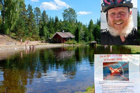 Fungerende kommuneoverlege, Einar Braaten, oppfordrer hundeeiere til å la hundene bade andre steder enn på offentlige badeplasser.
