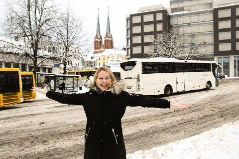 MEST AKTUELT: Skiensordfører Hedda Foss Five mener Landmannstorget er den mest aktuelle plasseringen for det nye fylkeshuset for Vestfold og Telemark. Med framtidig togstopp i fjellet vil det bli lettere å pendle.