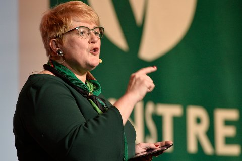 NEI TIL DEPONI: Venstres leder Trine Skei Grande, sa på Venstres landsmøte fredag nei til gammeldagse deponier. Foto: Ned Alley / NTB scanpix
