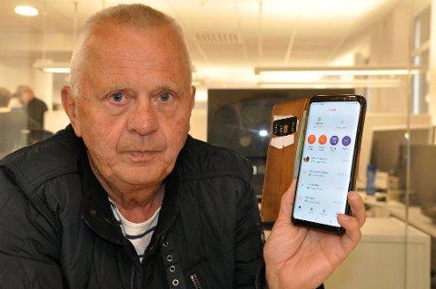 IKKE GREIT: - Når e-fakturaer til Grønkjær skisenter havner i min personlige Vipps-boks og bettbank, er det ikke greit. Jeg har aldriu bekreftet eller blitt spurt om en avtale som gir denne muligheten. Her har noen store aktører tatt seg til rette, mener Terje Bakka. Foto: Jens Marius Hammer