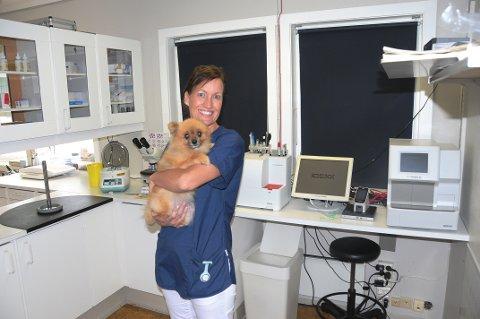 LANGT MINDRE BEKYMRING: Camilla Krogsrud er veterinær og daglig leder for Anicura Skien dyreklinikk. Hun mener bekymringen omkring den ukjente hundesykdommen har sluppet taket. Her er hun på klinikken med en av sine pasienter.