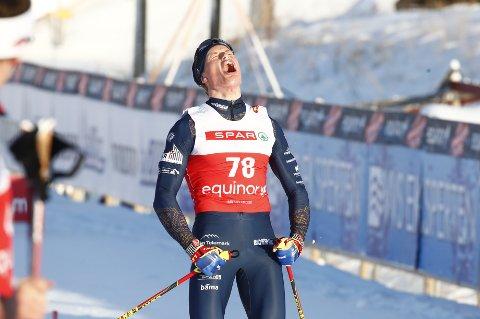 SEIERSBRØL: Mikael Gunnulfsen hadde all grunn til å juble på Beitostølen lørdag. Foto: Terje Pedersen / NTB