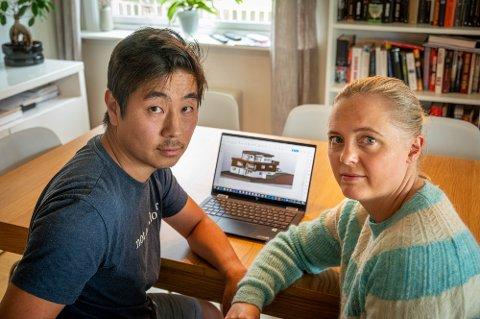 OPPGITT: Ekteparet Thor Ketil Hallan og Cecilie Røste er oppgitt over behandlingen de har fått i sin byggesak på Hallermoen vest.
