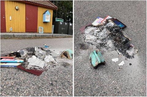 BRENT: Nylig ble bokskapet i Krogshavn utsatt for hærverk. Skapdøra ble revet av og innholdet brent. Samme kveld skal det ha vært tent på søppel flere steder i området. Markusson har ikke anmeldt forholdet.