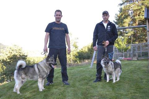 NM: Olav Willy Eriksen (t.v.) med Aico av Gausbu og Anders Nordbø med Trolljentemyra's Strix kom på henholdsvis tredje siste og fjerde plass under årets NM Løshund.