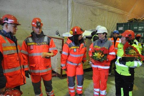 Olav Skinnes, Tom Hedalen, Ingunn Foss og ordførerne fra Notodden og Kongsberg.