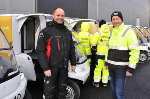 GRØNN LEVERING: Markedsdirektør Thor Øivind Johansen, Paxster (t.v.) og prosjektleder Jens Aardalsbakke, Amedia Distribusjon følger testen av små, elektriske kjøretøy i vinter som også på sikt kan gi grønn levering av Telen.