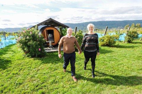 FRA NES TIL GVARV: Odd Wollberg og Lill Gjestad Wollberg fra Nes på Romerike skal drive Lerkekåsa vingård videre.