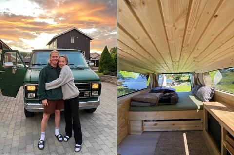 VAN: Kjæresteparet har restaurert van fra 1987. Nå reier de rundt i Norge med vanen, men håper på utenlandsturer til neste år.