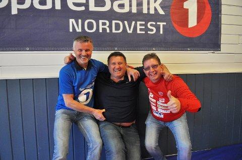 Ole Petter Taknæs (fra venstre), Tore Løvik og Frode Langaas i Kristiansund Atletklubb gleder seg til Nordvestcupen neste helg - og til flere meritter for den allerede svært så meritterte bryteklubben.
