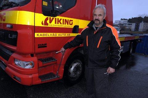 Daglig leder: Arild Didriksen har en travel hverdag som bilberger, men blir sjeldent kontaktet av utenlandske sjåfører som har havnet i ulykke.foto: knut johansen