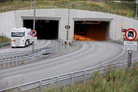 STENGES: Det vestgående løpet i Frodeåstunnelen stenges i natt.