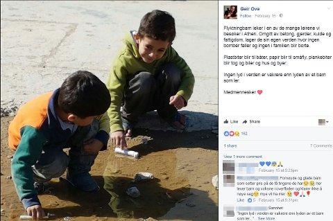 I FLYKTNINGLEIR: Geir Ove Kvalheim la ut en post om flyktningbarn i en leir i Athen 15. februar i år.