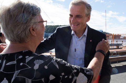 Partileder Jonas Gahr Støre og Kirsti Kolle Grøndahl under presentasjonen av Arbeiderpartiets plan for eldreomsorg i neste stortingsperiode.
