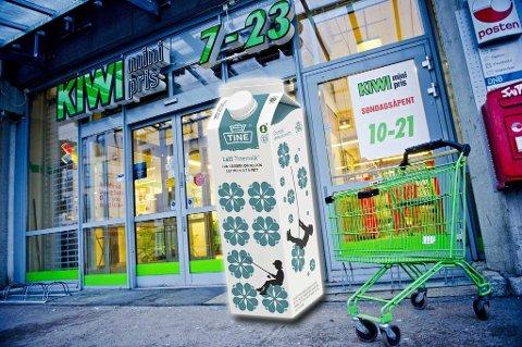 KASTET PÅ DØR: Norgesgruppen har kuttet ut flere Tine produkter i sine butikker. Hos Kiwi har Tines 1,75-liters lettmelk blitt byttet ut.