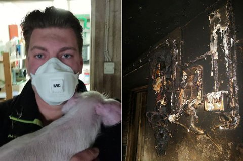 KOM HJEM TIL BRANN: – Jeg så brannbilene på lang avstand, sier grisebonde Kim Gaasholt Kristensen.