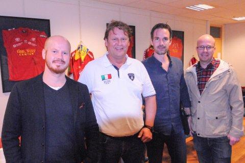 STYRET I 2017: Denne gjengen kunne puste ut etter et solid år for FK Tønsberg. Stian Rørby (til venstre, varamedlem), Per Erik Olsen (nestleder), Stian Nikodemussen (styremedlem) og Jonas Amundsen (styremedlem). Bjørnar Langaas (styremedlem) var ikke tilstede da dette bildet ble tatt.