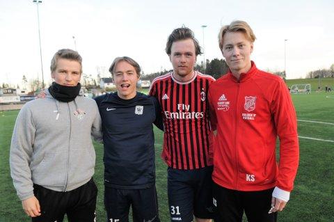 HJEMVENDTE SØNNER: Fra venstre: Henrik Gravdal, Kasper Markussen, Ulf Bjønnes og Kristian Studsrød er klare for å hjelpe Stokke tilbake i det gode selskap.