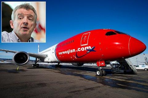 VIL HA NORWEGIAN-PILOTER: Michael O'Leary (innfelt), sjef i Ryanair, er på jakt etter Norwegian-piloter.