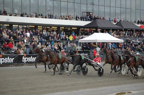 SMÅ MARGINER: Custom Colt (9) vinner ytterst knepent Norsk Travkriterium foran innvendige Te Amo Corazon (11). Ytterst i banen går bronsen til Ramnes-hesten Photo Tighter.