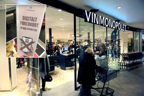 PÅ VINMONOPOLET: Digitalt førerkort er ikke gyldig som legitimasjon hos Vinmonopolet.