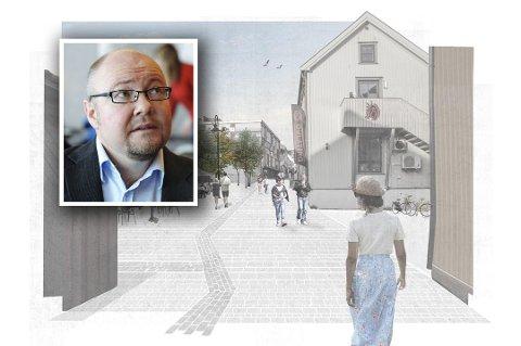 SVÆRT KRITISK: Terje Gansum, leder av Kulturarv i Vestfold og Telemark fylkeskommune, lar seg ikke imponere av granitthellene kommunen har planlagt i Rådhusgaten nedenfor Nedre Langgate.