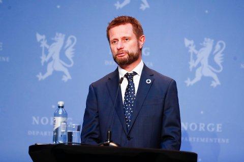 Helse- og omsorgsminister Bent Høie på den daglige pressekonferansen med oppdatering om koronavirus-situasjonen.