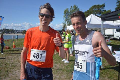 TETDUOEN: Lras Roosken (til høyre) vant halvmaraton fra Horten til Ringshaugstranda. Her sammen med toeren Pål Suhrke.