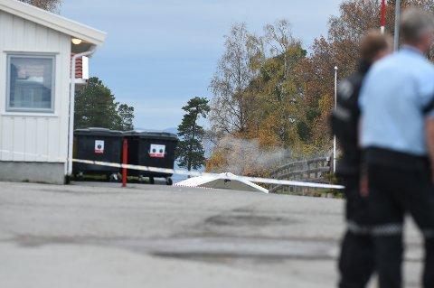 RØYK: Bombegruppa til politiet og forsvaret samarbeider med å få kontroll på det som har antent i bakken.