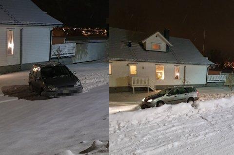 KAOS: Fire biler havnet i en hage på en kveld. Nabo Karin Mikalsen er lei.