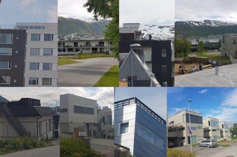 KLAGER: Boligen på toppen av Tromsøya har fått nei på sin søknad om takterrasse. I en ny klage viser søkeren til åtte takterasser i byen som er godkjente. De stammer fra både sentrum og flere adresser på Tromsøya.