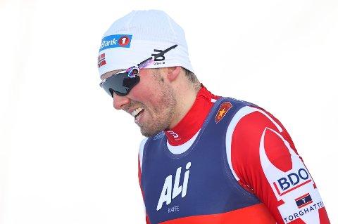 EXIT I SEMIFINALEN: Emil Iversen kom på 4. plass i sitt semifinaleheat i verdenscupsprinten i Falun søndag.