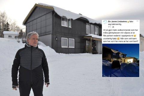 HYGGELIG OVERRASKELSE: Siv Janne Lindsetmo var forberedt på en snøfylt gårdplass da hun kom hjem søndag – men en hittil ukjent hjelper sørget for at jobben ble langt enklere.