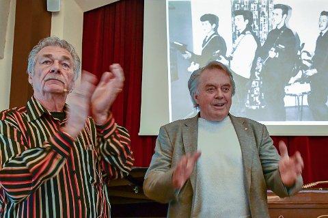 Asbjørn Erichsen (til venstre) og Tor Erik Nævestad presenterte barndomsminner fra 1950-tallet.