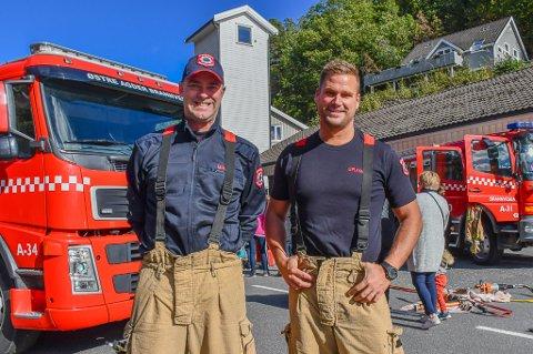 Konstituert brannmester Svein Bråthen (t.v.) og utrykningsleder Geir Byvold.