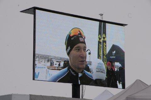 Ble intervjuet: Jostein Schlytter Strandbråten ble intervjuet etter målgang på Beitosprinten.