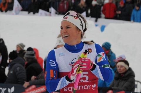 Blid: Mari Eide var blid og fornøyd etter målgang i sin kvartfinale.