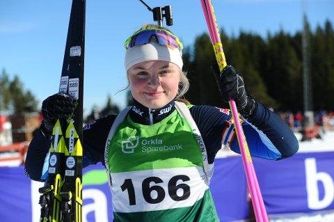 Norgesmester: Eivor tok gull på skiskyttersprinten i kvinner 17 år i Knyken skisenter lørdag.