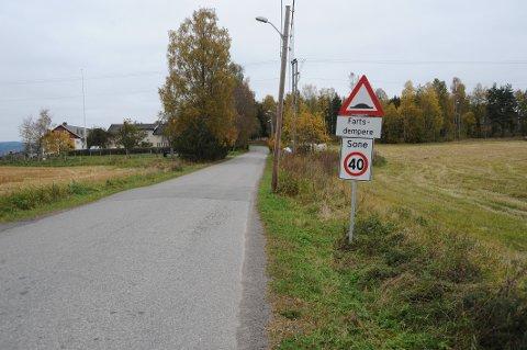 KJØRTE UT: To unge menn er sett løpende fra stedet etter at en bil kjørte av Rauerskauveien, ikke langt fra Nittedal kirke, søndag morgen.