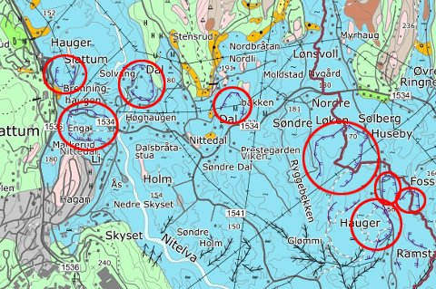 LEIROMRÅDE: Geologisk kart over Søndre der gamle skredkanter er markert med rød ring. Merk blant annet at hele Li skole (rød ring midt oppe helt til venstre i kartet) ligger i ei gammel skredgrop.