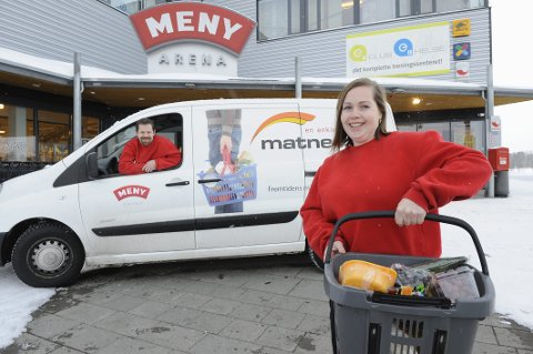 MATNET.NO: Morten og Eva Stensrud fra tida de drev netthandelbutikk med dagligvarer og eget firma. De har alltid hentet varene hos Meny Pindsle.