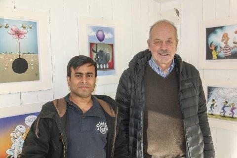 Fribytegner Arifur Rahman og styreleder i Avistegnernes Hus, Helge Simonsen, står sterkt i lag og hegner om ytringsfriheten. Alle foto: Staale Reier Guttormsen