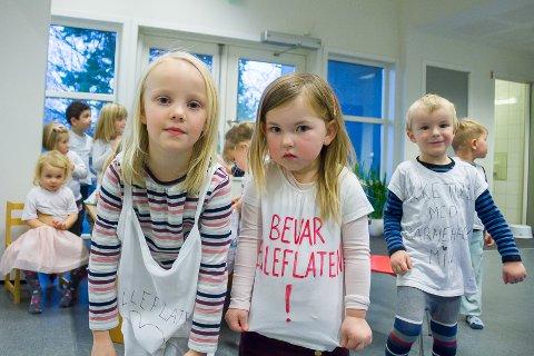 Budskapet fra Sara (5), Ellinor (3) og resten av barna i Elleflaten barnehage er tydelig nok. I morgen er en skjebnedag for barnehagen. Da har de største partiene i Frogn gruppemøter.