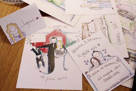 Kreative kort: Suna Wallin fra Drøbak tegner personlige kort til festen.