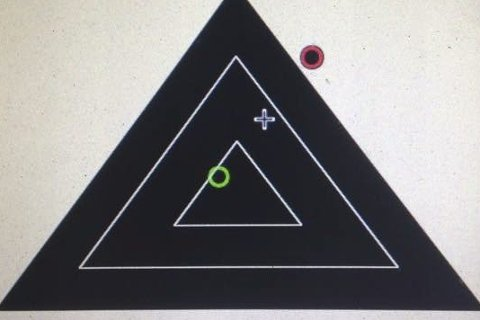 Moderne: Frogn og Drøbak skytterlag har investert i elektroniske skiver for feltskyting. Slik ser blinken ut på skjermen mot publikum.