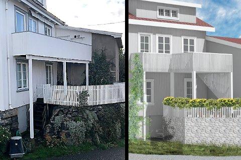 STRENGT: Til venstre dagens bygning med amatør-veranda fra 70-tallet. Den kan huseier beholde. Forslaget til høyre fra Crux Arkitektur er fylkeskommunen negativ til.