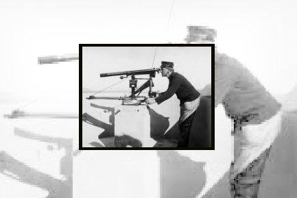 Oscarsborg-kommandant Georg Stang bruker her sin orograf. Stang ble forsvarsminister, og hedres fortsatt på landsskytterstevnet der øvelsen stangskyting er oppkalt etter Stang.