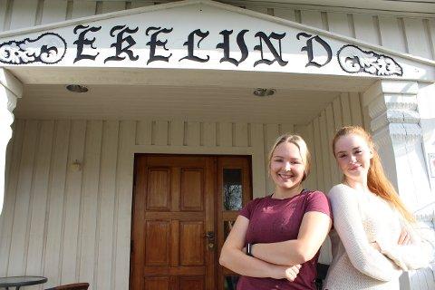 Ekelund: Frida Øhre og Maria Bjørgo og deres medelever har stått denne uka for å friske opp hovedstuen på Ekelund. Alle foto: Henriette Slaatsveen